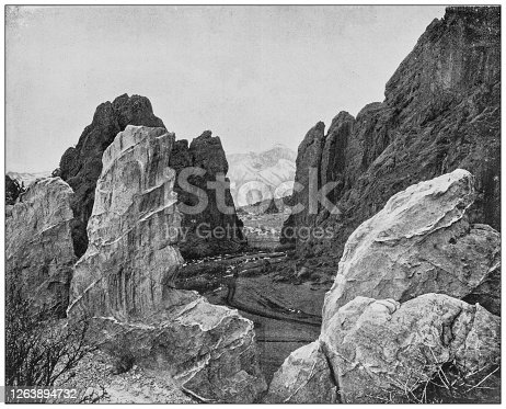 Antique black and white photograph: Garden of the Gods, Colorado