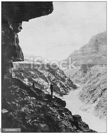 Antique black and white photograph: Grand Canyon, Colorado