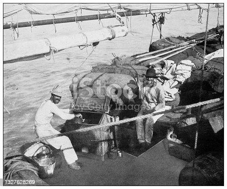 istock Antique black and white photograph: Greek fishing boat, Isla de la Juventud 1327628269
