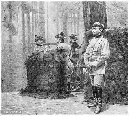 Antique black and white photograph: Hunting with royalty, German Emperor Wilhelm II