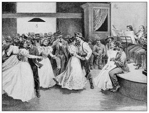 Antique black and white photograph: Klondike gold rush, dance