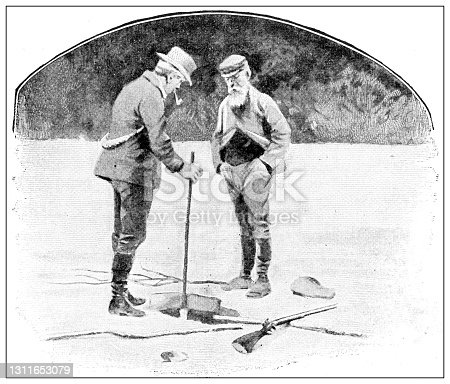 Antique black and white photograph: Klondike gold rush, fishing through ice