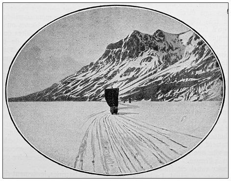 Antique black and white photograph: Klondike gold rush, Lake Bennett