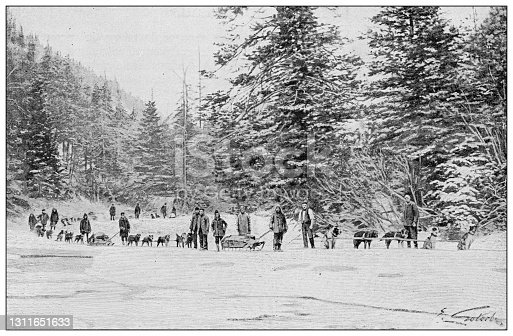 Antique black and white photograph: Klondike gold rush