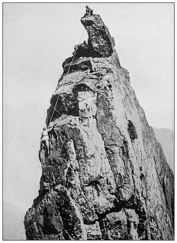 Antique black and white photograph: Matterhorn, mountain climbing