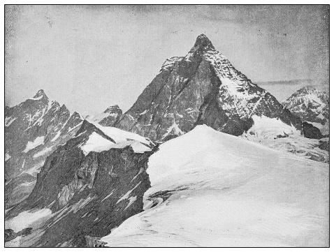 Antique black and white photograph: Matterhorn