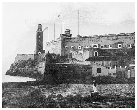 Antique black and white photograph of people from islands in the Caribbean and in the Pacific Ocean; Cuba, Hawaii, Philippines and others: Morro Castle, Havana, Cuba