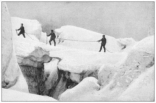 Antique black and white photograph: Mountain climbing on the Mont Blanc