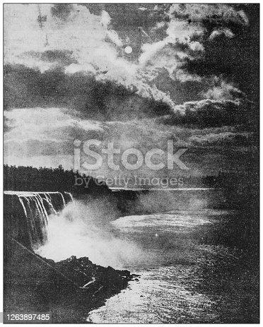 Antique black and white photograph: Niagara at night