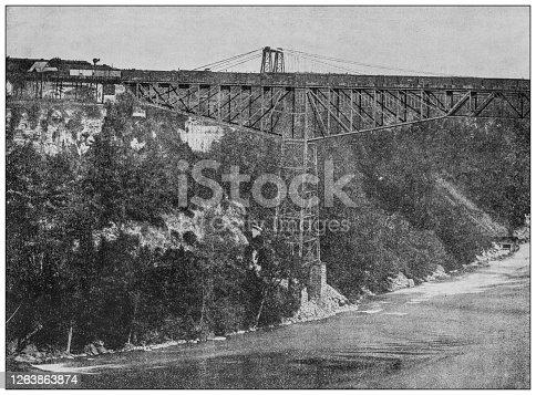 Antique black and white photograph: Niagara suspension bridge