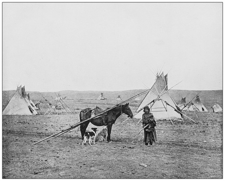Antique black and white photograph: North American natives
