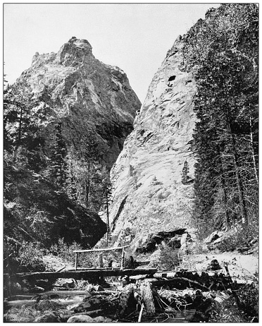 Antique black and white photograph of American landmarks: Cheyenne Canyon, Colorado