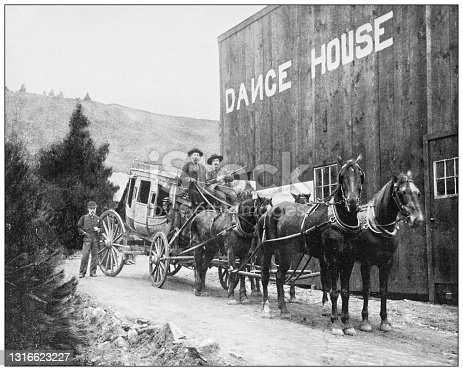 Antique black and white photograph of American landmarks: Dance House, California