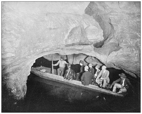 Antique black and white photograph of American landmarks: Echo River, Mammoth Cave, Kentucky