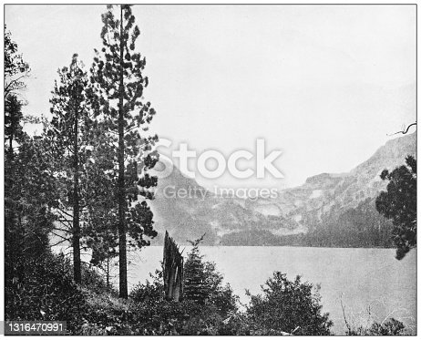 Antique black and white photograph of American landmarks: Emerald Bay, Lake Tahoe