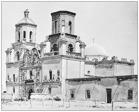 Antique black and white photograph of American landmarks: Mission San Xavier del Bac, Arizona