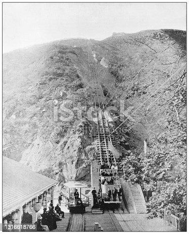 Antique black and white photograph of American landmarks: Pasadena mountain railway, California