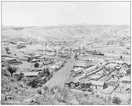 Antique black and white photograph of American landmarks: Tucson, Arizona