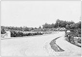 istock Antique black and white photograph of Boston, Massachusetts: Arnold Arboretum entrance 1296499560