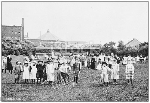 Antique black and white photograph of Boston, Massachusetts: Playground, Charlesbank