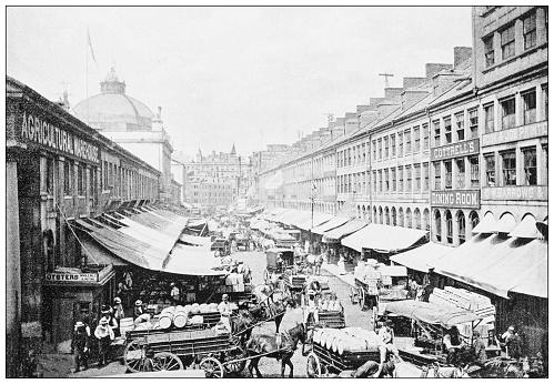 Antique black and white photograph of Boston, Massachusetts: Quincy Market