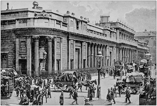 Antique black and white photograph of England and Wales: Bank of England, London