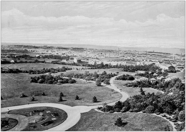 Antique black and white photograph of England and Wales: Barnsley Park and Town stock photo
