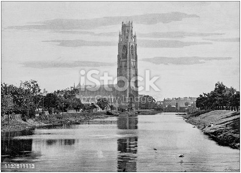 Antique black and white photograph of England and Wales: Boston, the church