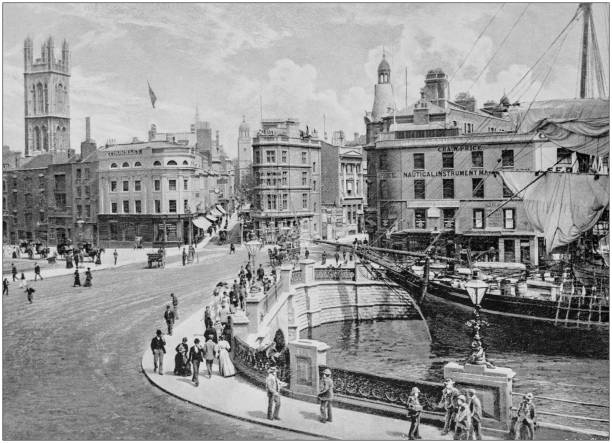 Antique black and white photograph of England and Wales: Bristol stock photo