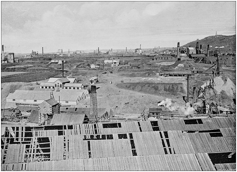 Antique black and white photograph of England and Wales: Cornish Mining District
