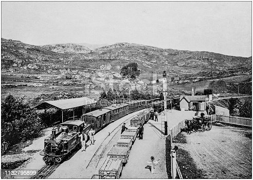 Antique black and white photograph of England and Wales: Festiniog Railway, Tan y Bwlch station