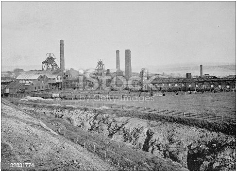 Antique black and white photograph of England and Wales: Hoyland Silkstone Collieries, Yorkshire