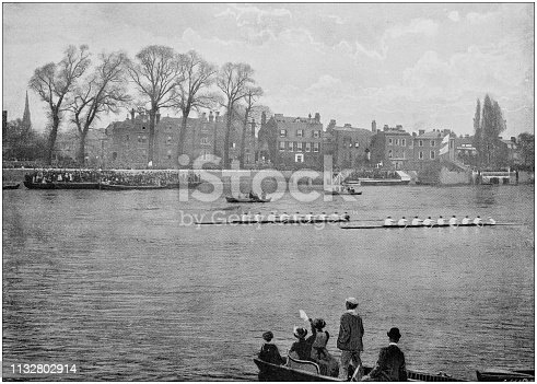 Antique black and white photograph of England and Wales: Oxford and Cambridge boat race