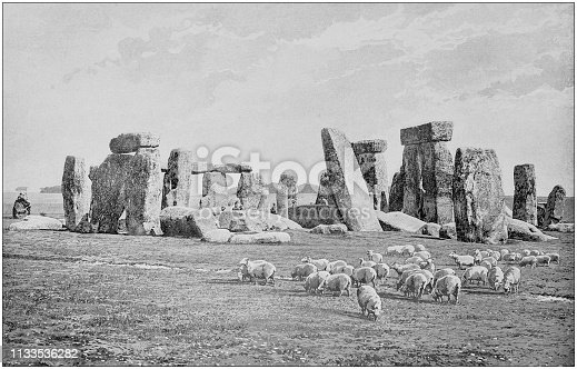 Antique black and white photograph of England and Wales: Stonehenge