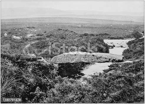 Antique black and white photograph of England and Wales: Walla Brook Bridge, Dartmoor