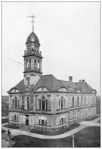 Antique black and white photograph of historic towns of the middle States: Wilmington, Newcastle County Court House