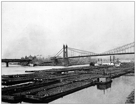 Antique black and white photograph of historic towns of the middle States: Pittsburgh, Coal fleet
