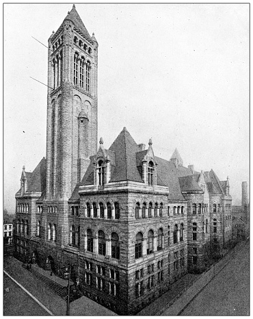 Antique black and white photograph of historic towns of the middle States: Pittsburgh, Courthouse