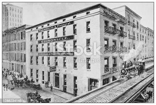 Antique black and white photograph of New York: Commercial and Financial CHRONICLE