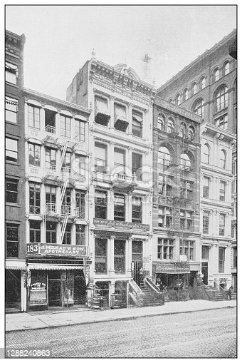 Antique black and white photograph of New York: J. MILHAU'S SON, PHARMACIST AND CHEMIST