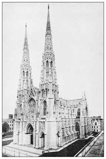 Antique black and white photograph of New York: ST PATRICK'S CATHEDRAL