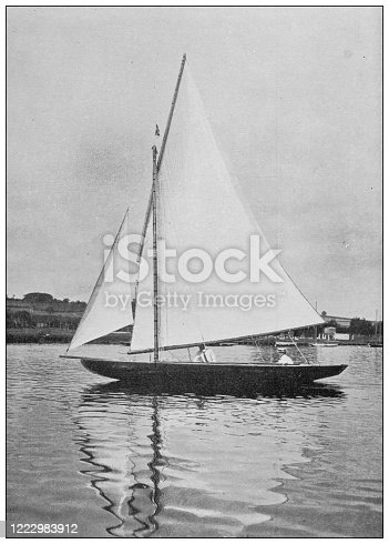Antique black and white photograph of sport, athletes and leisure activities in the 19th century: Boat sailing on the upper Thames