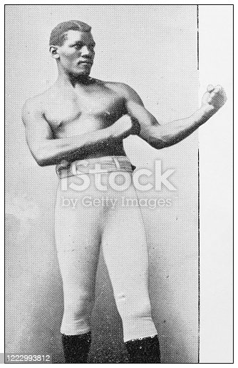 Antique black and white photograph of sport, athletes and leisure activities in the 19th century: Boxer Peter Jackson