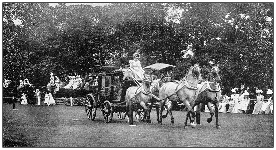 Antique black and white photograph of sport, athletes and leisure activities in the 19th century: Coaching
