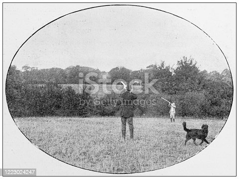 658114236 istock photo Antique black and white photograph of sport, athletes and leisure activities in the 19th century: Bird shooting 1223024247