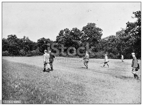 658114236 istock photo Antique black and white photograph of sport, athletes and leisure activities in the 19th century: Bird shooting 1223024950