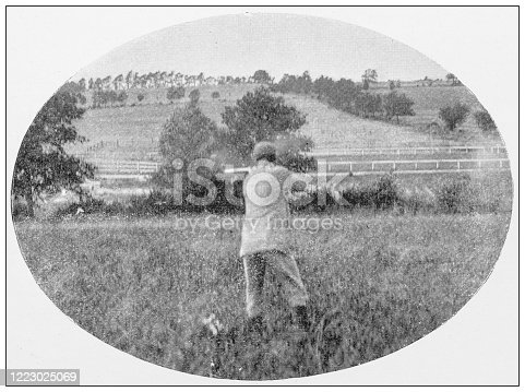 658114236 istock photo Antique black and white photograph of sport, athletes and leisure activities in the 19th century: Bird shooting 1223025069