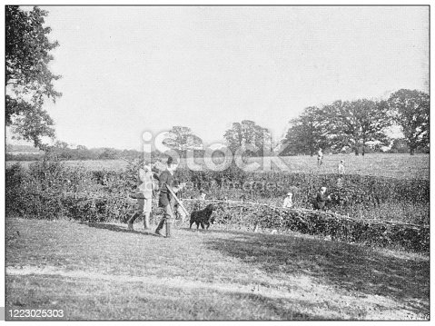 658114236 istock photo Antique black and white photograph of sport, athletes and leisure activities in the 19th century: Bird shooting 1223025303