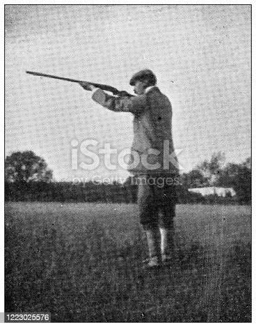 658114236 istock photo Antique black and white photograph of sport, athletes and leisure activities in the 19th century: Bird shooting 1223025576