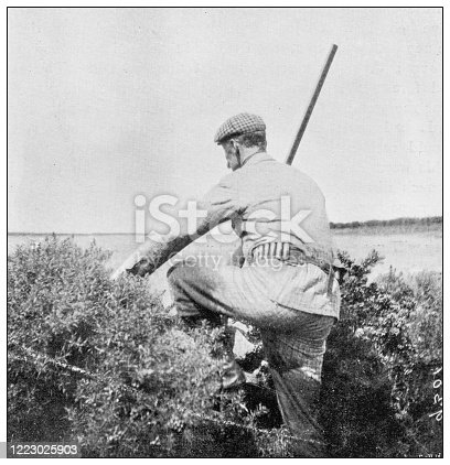 658114236 istock photo Antique black and white photograph of sport, athletes and leisure activities in the 19th century: Bird shooting 1223025903